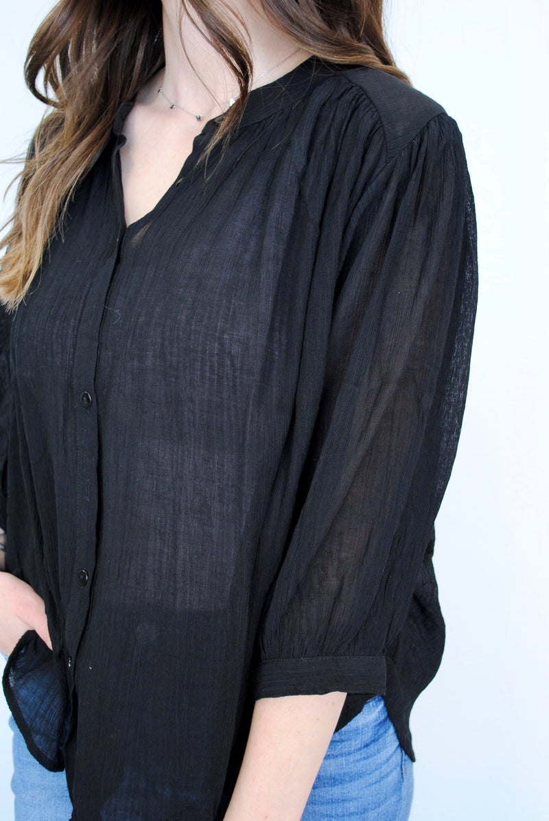 Black Button Up 3/4 Sleeve Top