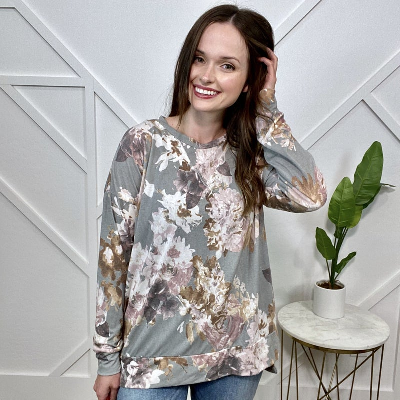 Grey Floral Long Sleeve