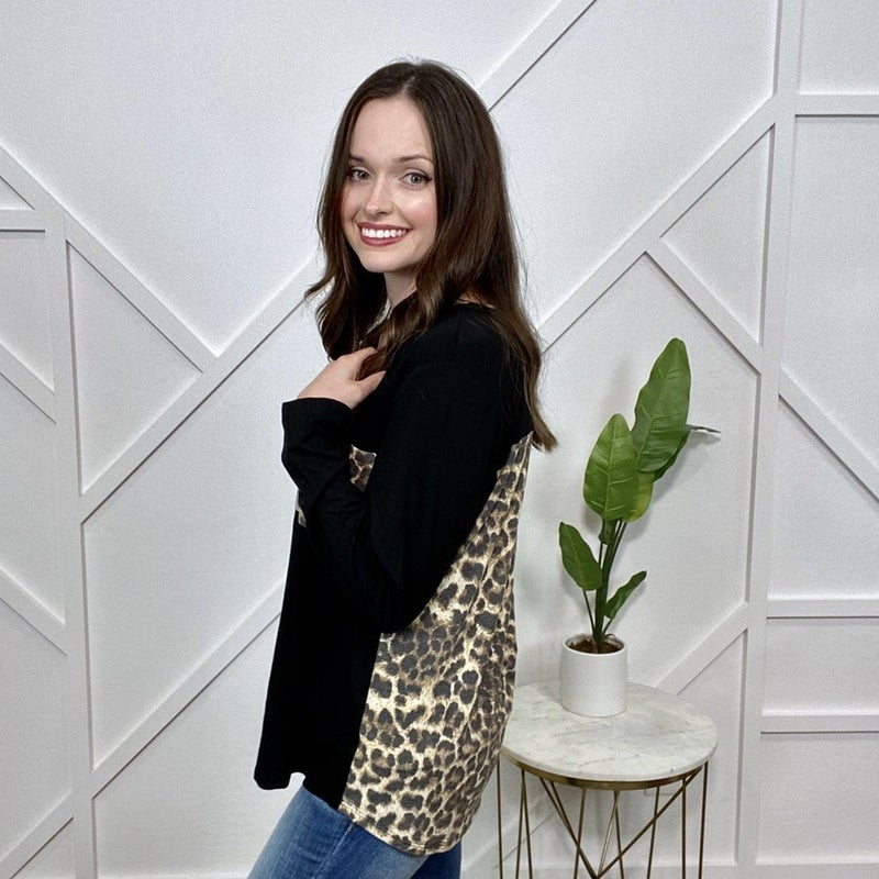 Black Long Sleeve top with Leopard Back