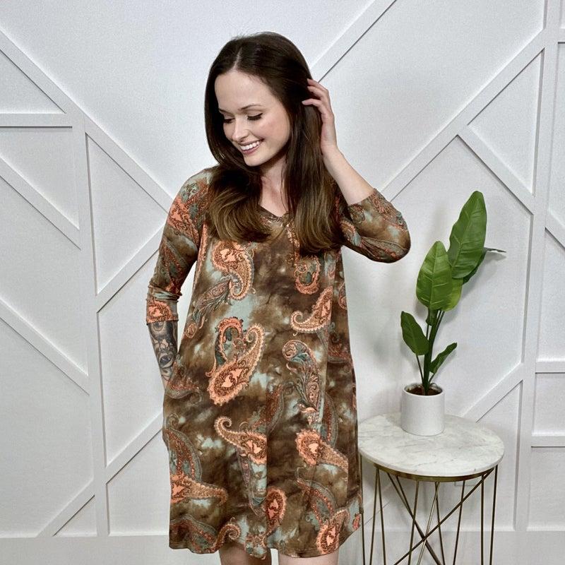 Chocolate Coral Paisley Dress