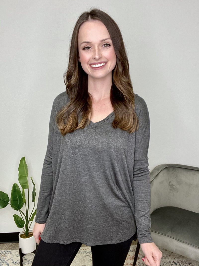 Long Sleeve V-neck Tunic: Charcoal