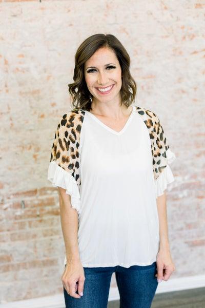 Leopard Ruffle Sleeve