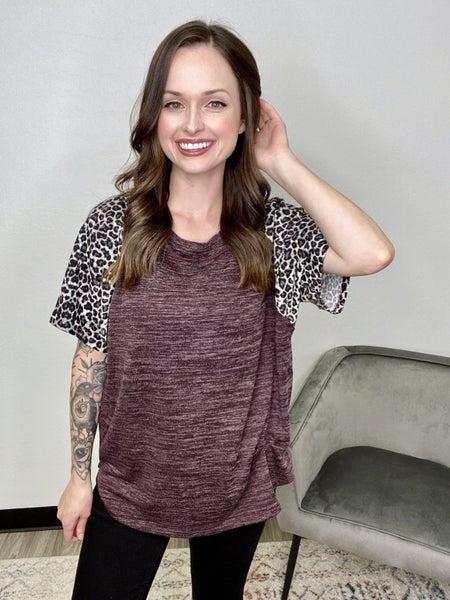 Plum Short Sleeve w/Leopard Sleeves