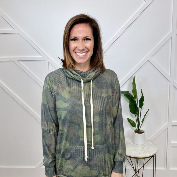Camo Cowl Neck Sweater