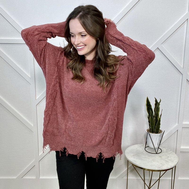 Red Distressed Knit Sweater