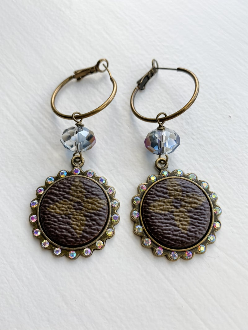 Upcycled Small Circle + Bead Earrings