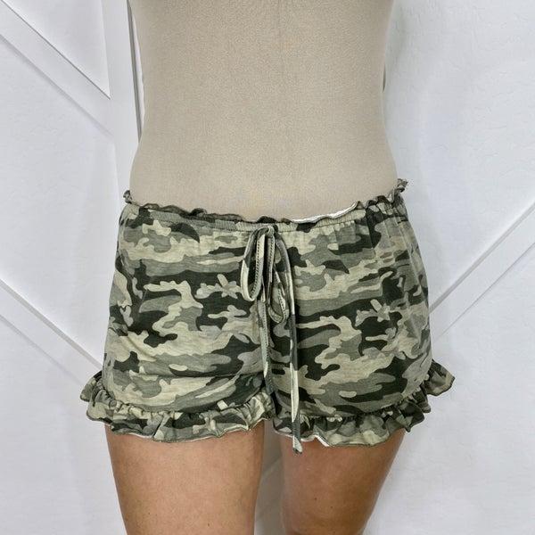 Camo Ruffle Shorts