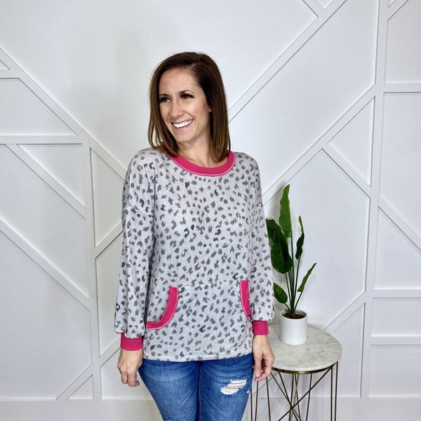 Grey Leopard with Pink Trim Long Sleeve