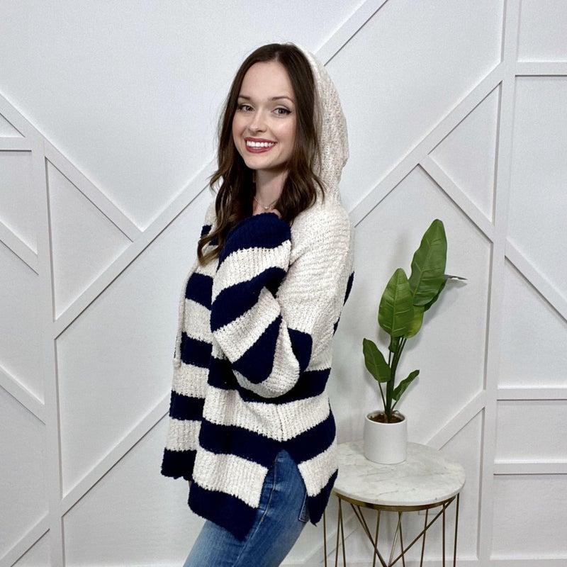 Striped Plush Knit Hoodie