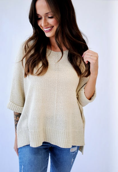 Oatmeal It's A Breeze Knit Top