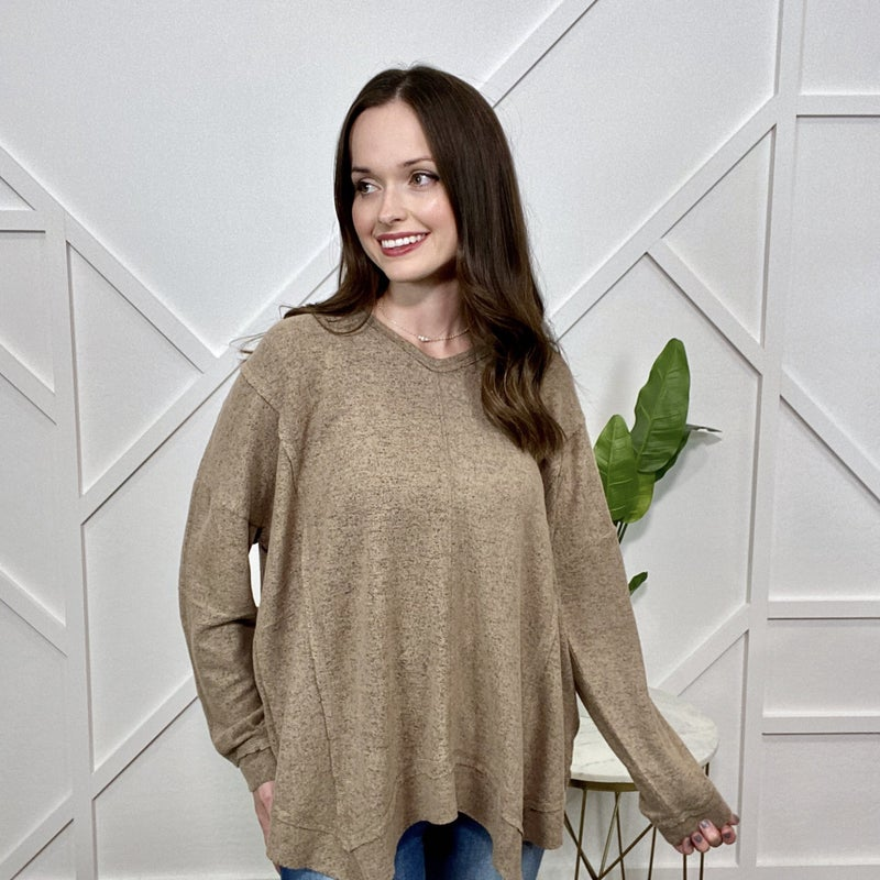 Mocha Brown Long Sleeve Sweater Top