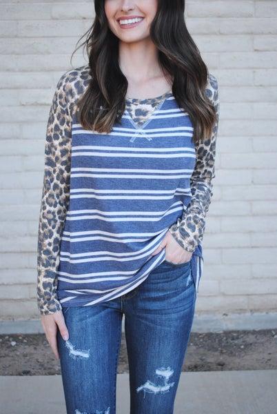 Navy/Ivory Stripe Top w/Leopard Sleeves