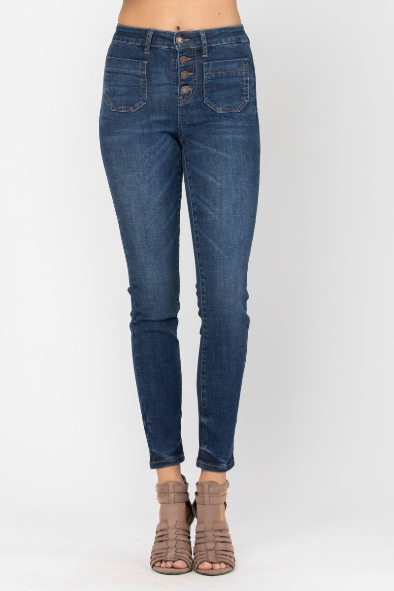 Judy Blue Button Up Patch Pocket Skinny