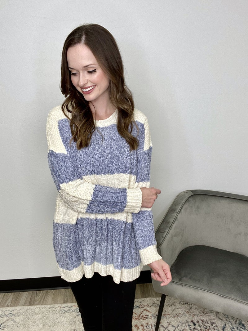 Ivory + Blue Color Block Sweater