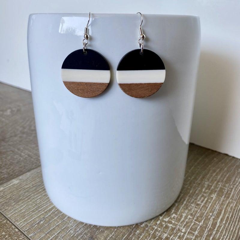 Black Acrylic + Wood Circle Earrings