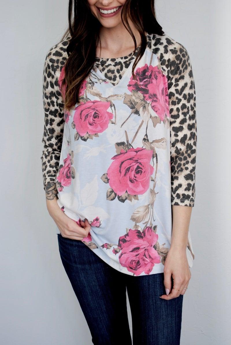 Rose Floral With Leopard Trim