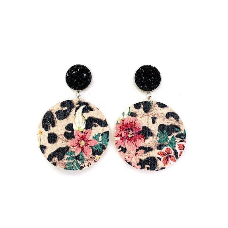 Leopard Floral + Druzy Stud Earring
