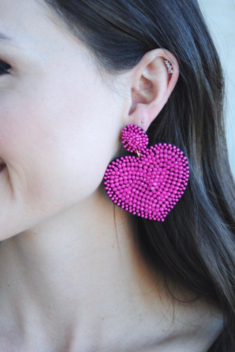 Solid Beaded Heart Earrings