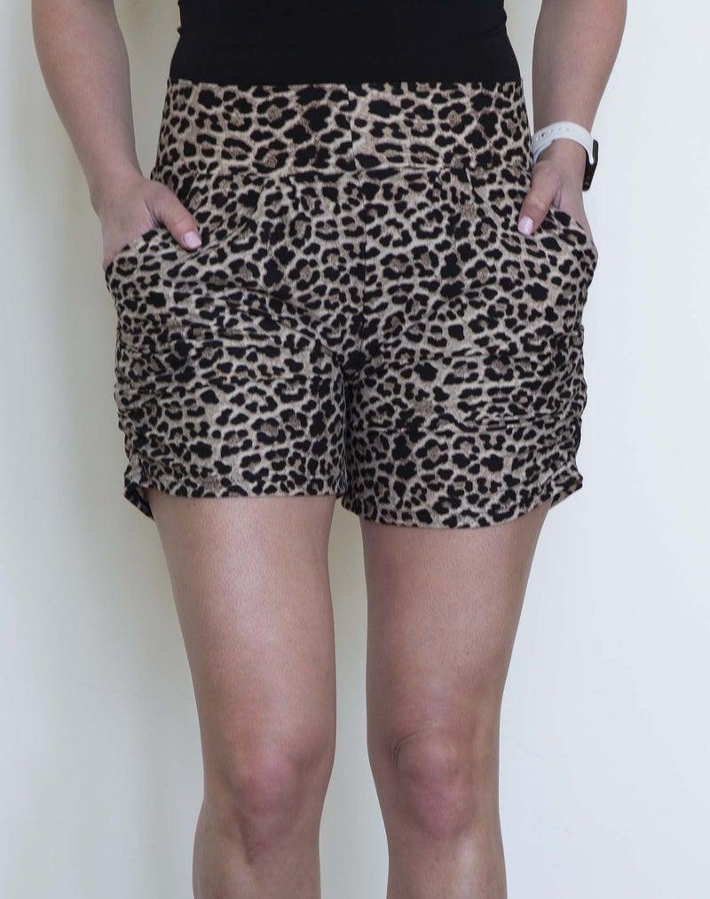 Tan Leopard Harem Shorts