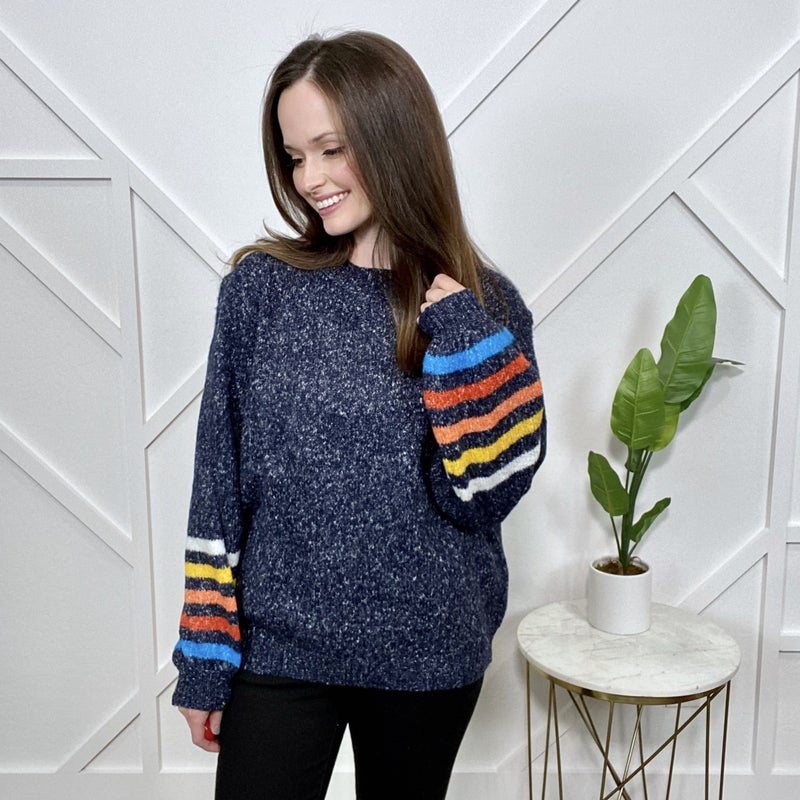 Blue Sweater with Multi Color Stripes