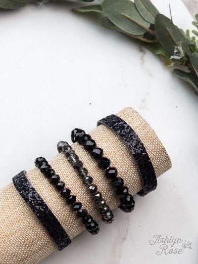 So Put Together Bracelet Set, Black Glitter