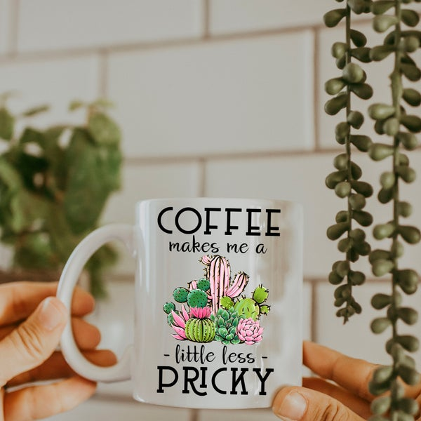 Coffee Makes Me a Little Less Pricky Mug