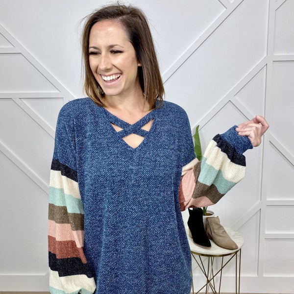Sweater Top with Criss Cross + Stripe Sleeves