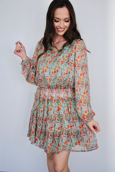 Printed Chiffon Smocked Waist Dress