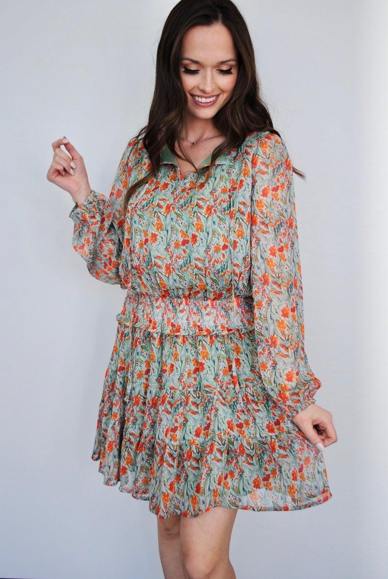 Printed Chiffon Smocked Waist Dress
