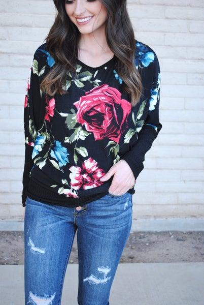 Floral Long Sleeve Dolman Top