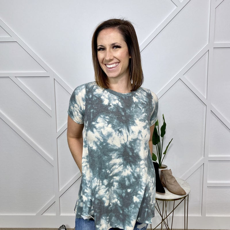 Green Tie Dye Top with Pockets