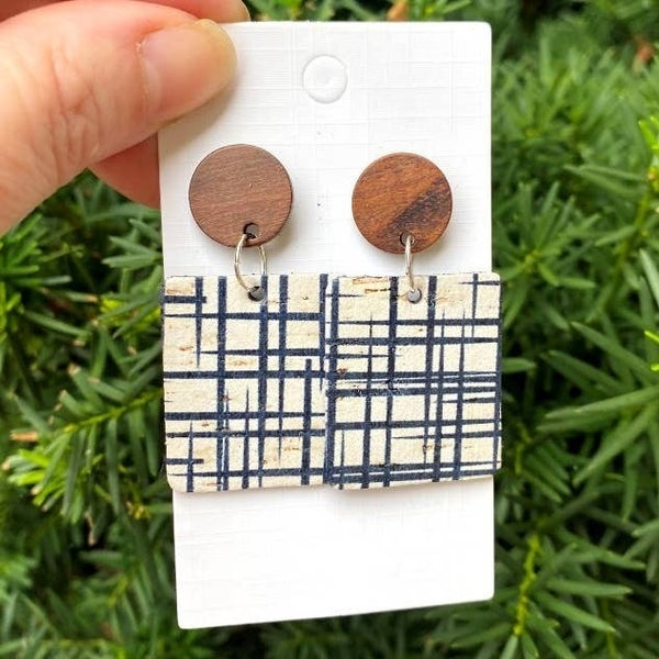 Etched CorkLeather Block Earrings