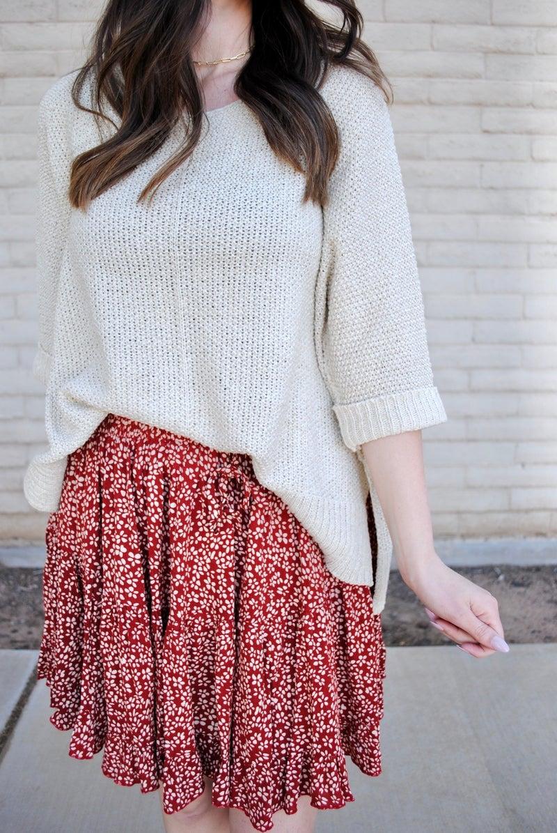 Crimson + Ivory Floral Skirt