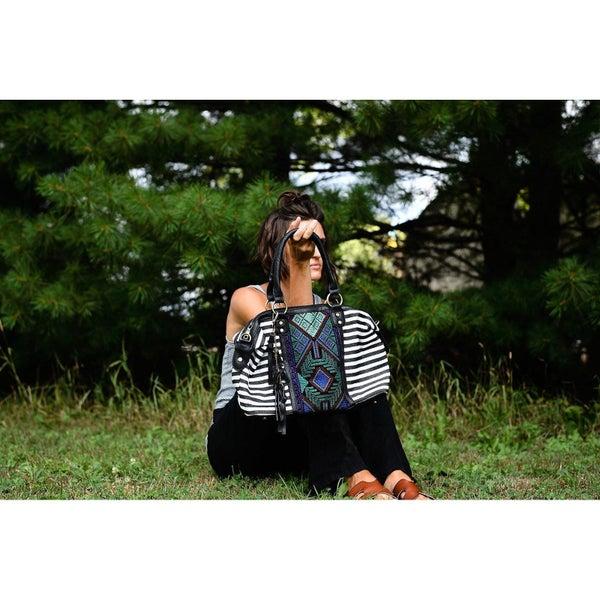 Black Stripe Aztec Handbag
