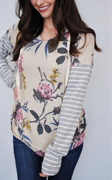 Beige Floral with Stripe Sleeved Hoodie