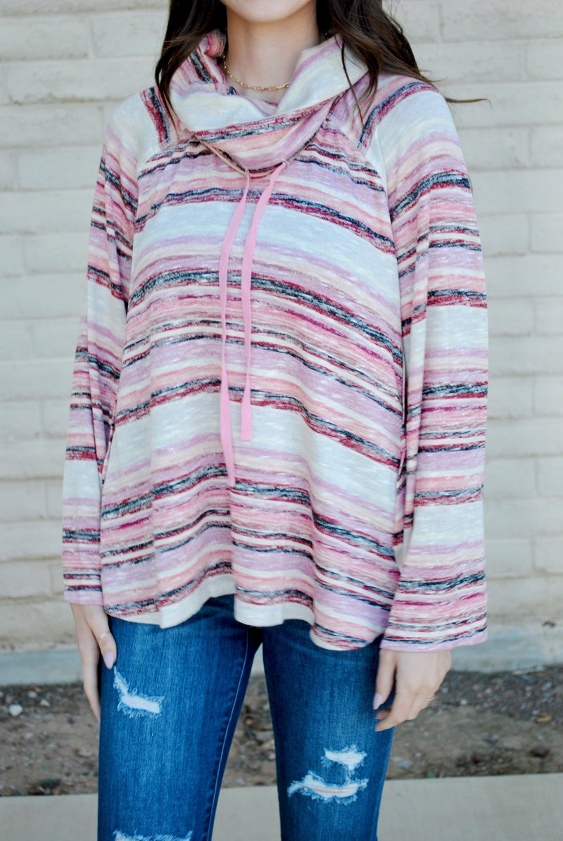 Pink Multi Long Sleeve Cowl Neck Top