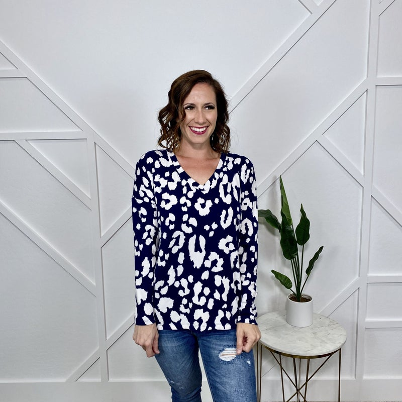 Blue Leopard Long Sleeve Sweater
