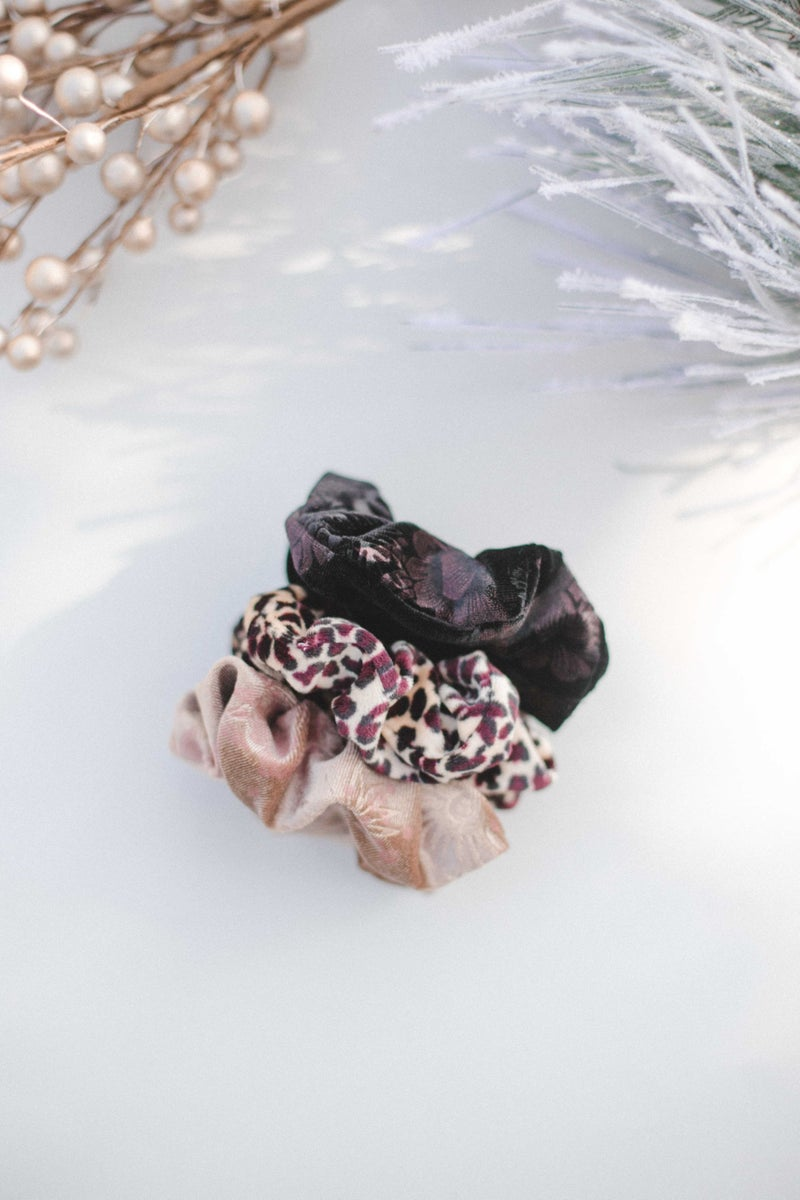 Burgundy Leopard Scrunchie