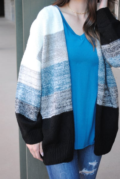 Blue Multi Color Knit Sweater