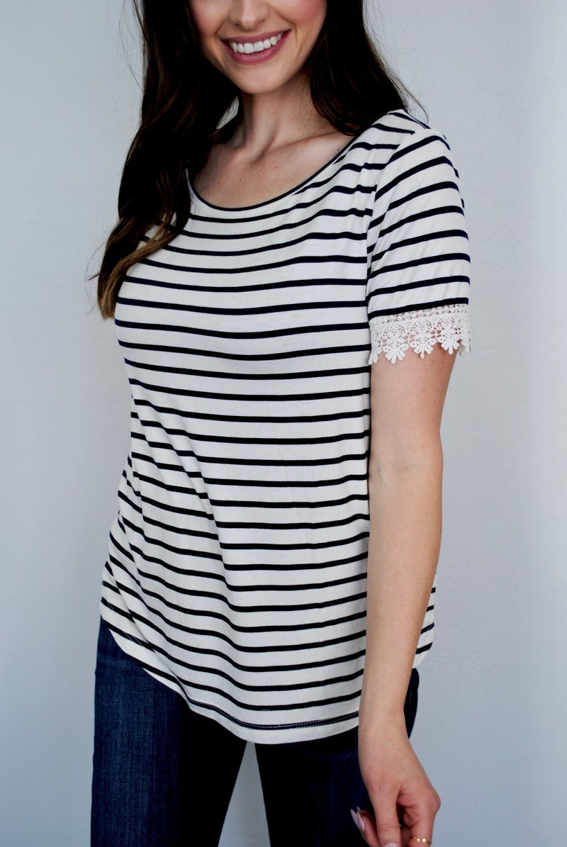 Navy/Ivory SS Stripe Laced Hem Top