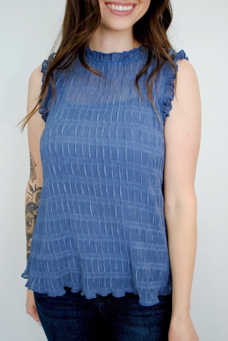 Slate Blue Textured Tank Top