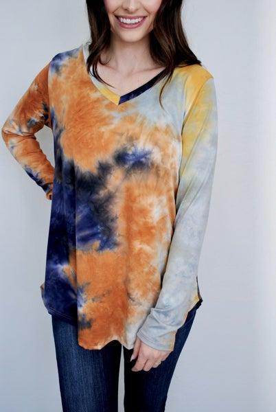 Tie Dye V-Neck Long Sleeve