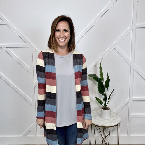 Multi Striped Cardigan