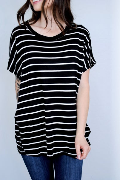 Black/Ivory Stripe SS Loose Fit