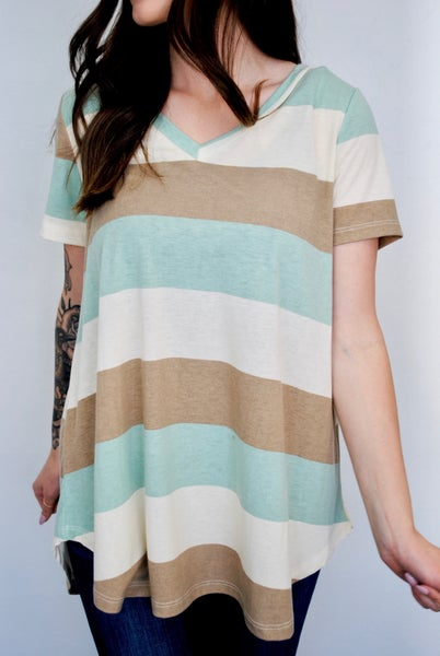 Taupe Mint Stripes