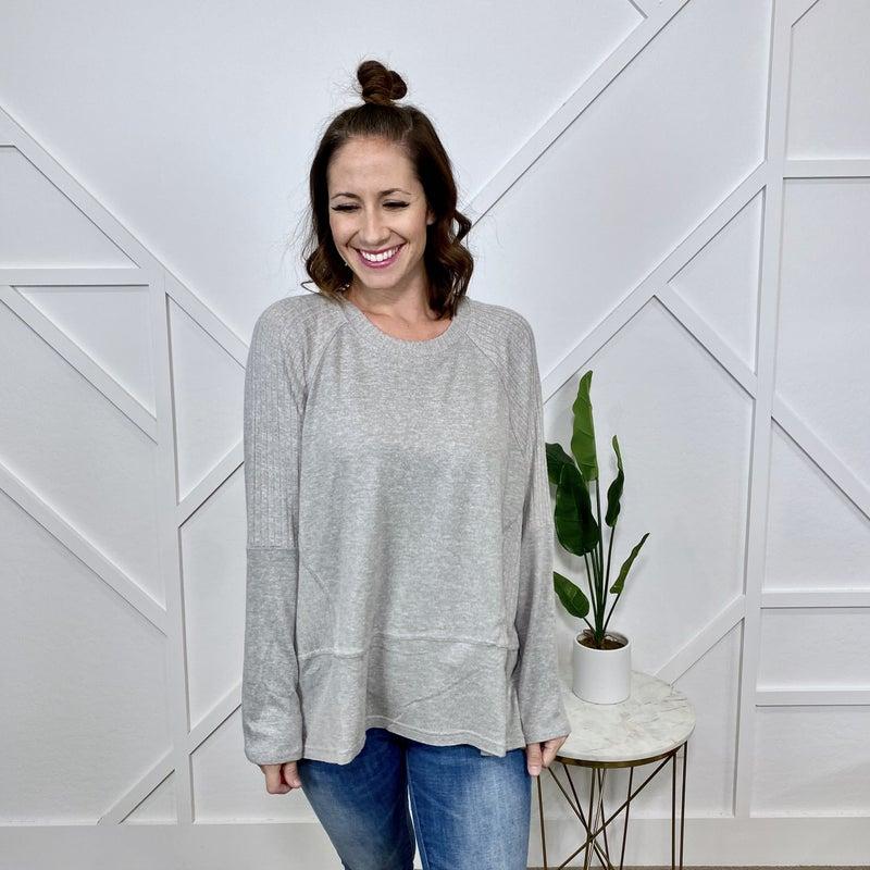 Grey Ribbed/Hacci Sweater