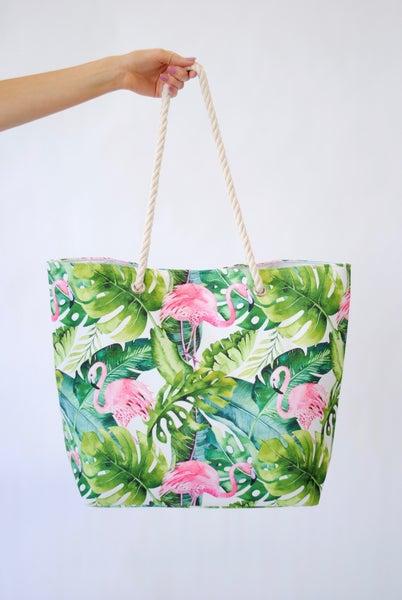 Flamingo in the Tropics Beach Bag