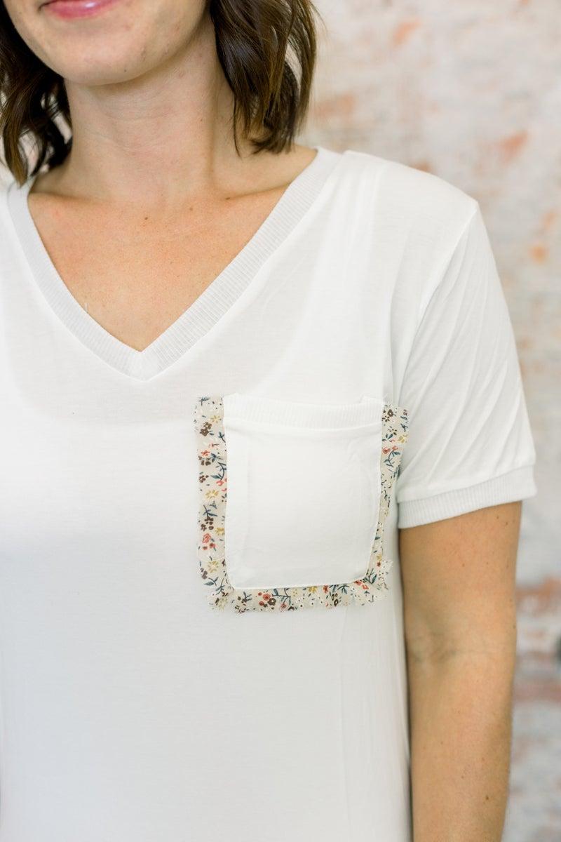 Floral Pocket Accent Top