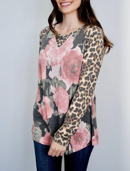 Mauve Floral Top w/Leopard Sleeves