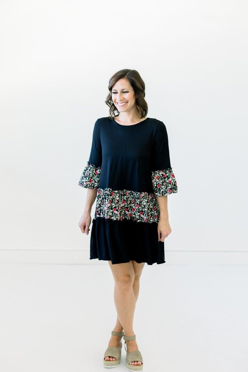 Color Block Dress w/Floral